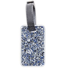 Electric Blue Blend Stone Glass Luggage Tags (One Side)
