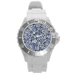 Electric Blue Blend Stone Glass Round Plastic Sport Watch (L)