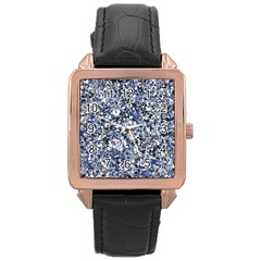 Electric Blue Blend Stone Glass Rose Gold Leather Watch