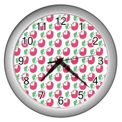 Fruit Pink Green Mangosteen Wall Clocks (Silver)