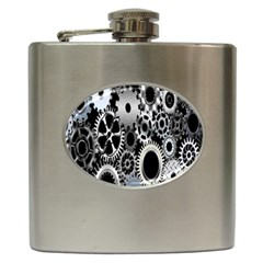 Gears Technology Steel Mechanical Chain Iron Hip Flask (6 oz)