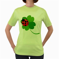 Insect Flower Floral Animals Green Red Women s Green T-Shirt