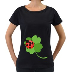 Insect Flower Floral Animals Green Red Women s Loose-Fit T-Shirt (Black)