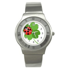 Insect Flower Floral Animals Green Red Stainless Steel Watch