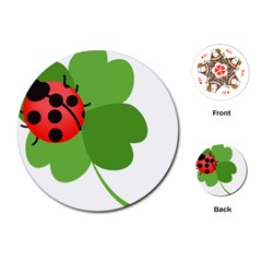 Insect Flower Floral Animals Green Red Playing Cards (Round)