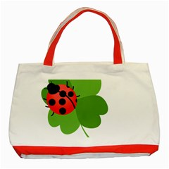 Insect Flower Floral Animals Green Red Classic Tote Bag (Red)