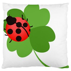 Insect Flower Floral Animals Green Red Large Flano Cushion Case (Two Sides)