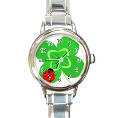 Insect Flower Floral Animals Green Red Line Round Italian Charm Watch