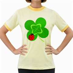 Insect Flower Floral Animals Green Red Line Women s Fitted Ringer T-Shirts