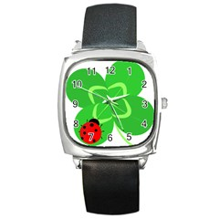 Insect Flower Floral Animals Green Red Line Square Metal Watch