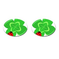 Insect Flower Floral Animals Green Red Line Cufflinks (Oval)