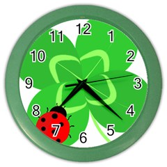 Insect Flower Floral Animals Green Red Line Color Wall Clocks