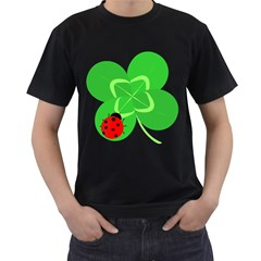 Insect Flower Floral Animals Green Red Line Men s T-Shirt (Black)