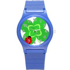 Insect Flower Floral Animals Green Red Line Round Plastic Sport Watch (S)