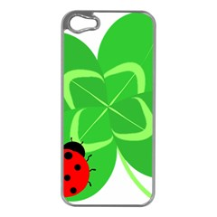 Insect Flower Floral Animals Green Red Line Apple iPhone 5 Case (Silver)