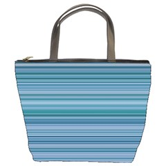 Horizontal Line Blue Bucket Bags