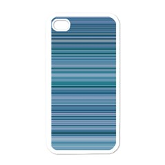 Horizontal Line Blue Apple iPhone 4 Case (White)