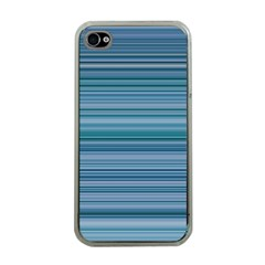 Horizontal Line Blue Apple iPhone 4 Case (Clear)