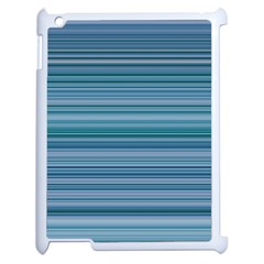 Horizontal Line Blue Apple iPad 2 Case (White)