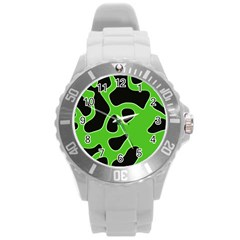 Abstract Shapes A Completely Seamless Tile Able Background Round Plastic Sport Watch (L)