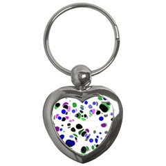 Colorful Random Blobs Background Key Chains (heart)