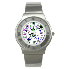 Colorful Random Blobs Background Stainless Steel Watch