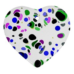 Colorful Random Blobs Background Heart Ornament (Two Sides)