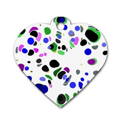 Colorful Random Blobs Background Dog Tag Heart (one Side)