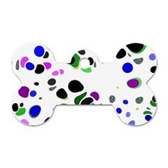 Colorful Random Blobs Background Dog Tag Bone (One Side)