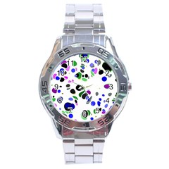 Colorful Random Blobs Background Stainless Steel Analogue Watch