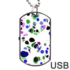 Colorful Random Blobs Background Dog Tag USB Flash (One Side)