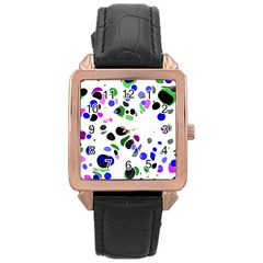 Colorful Random Blobs Background Rose Gold Leather Watch