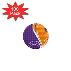 Leaf Polka Dot Purple Orange 1  Mini Magnets (100 pack)