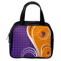 Leaf Polka Dot Purple Orange Classic Handbags (One Side)