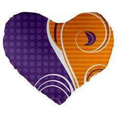 Leaf Polka Dot Purple Orange Large 19  Premium Heart Shape Cushions