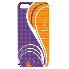 Leaf Polka Dot Purple Orange Apple iPhone 5 Hardshell Case with Stand