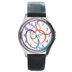 Abstract Background With Interlocking Oval Shapes Round Metal Watch