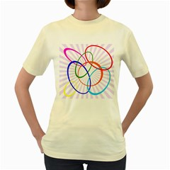 Abstract Background With Interlocking Oval Shapes Women s Yellow T-Shirt