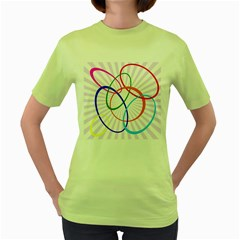 Abstract Background With Interlocking Oval Shapes Women s Green T-Shirt