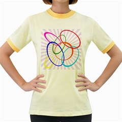Abstract Background With Interlocking Oval Shapes Women s Fitted Ringer T-Shirts