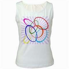 Abstract Background With Interlocking Oval Shapes Women s White Tank Top