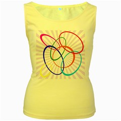 Abstract Background With Interlocking Oval Shapes Women s Yellow Tank Top