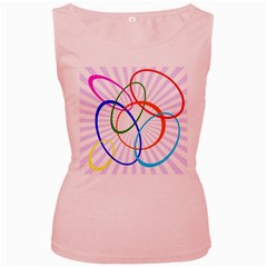 Abstract Background With Interlocking Oval Shapes Women s Pink Tank Top