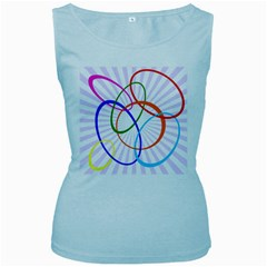 Abstract Background With Interlocking Oval Shapes Women s Baby Blue Tank Top