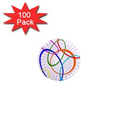 Abstract Background With Interlocking Oval Shapes 1  Mini Magnets (100 Pack)