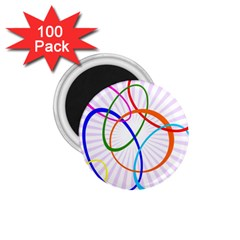 Abstract Background With Interlocking Oval Shapes 1.75  Magnets (100 pack)