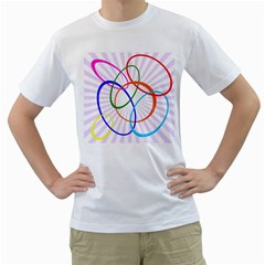 Abstract Background With Interlocking Oval Shapes Men s T Shirt (white) (two Sided)