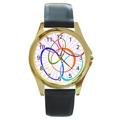 Abstract Background With Interlocking Oval Shapes Round Gold Metal Watch