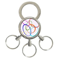 Abstract Background With Interlocking Oval Shapes 3 Ring Key Chains