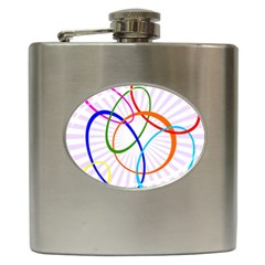 Abstract Background With Interlocking Oval Shapes Hip Flask (6 Oz)